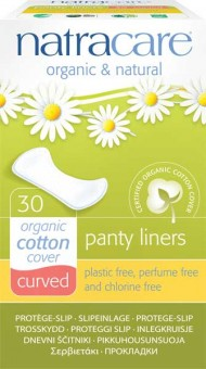 Natracare Organic 100% Cotton Panty Liners Curved - 30 pcs.